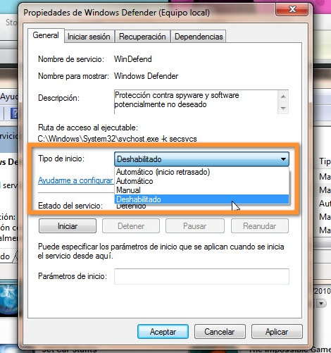 31 12 2010 01 53 26 p.m. Como desactivar Windows Defender