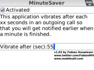 Medir tiempo de llamadas en blackberry con MinuteSaver - minutesaver
