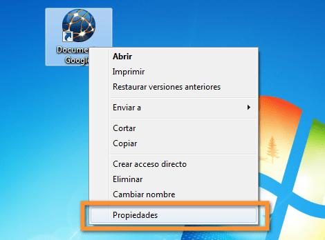 Como crear un acceso directo de Google Docs en tu escritorio - propiedades-del-icono