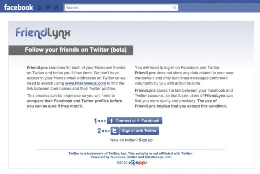 amigos facebook y twitter FriendLynx nos ayuda a encontrar que amigos de Facebook usan Twitter