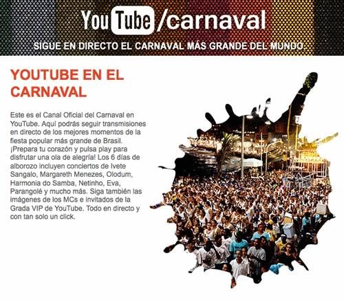 carnaval brasil Carnaval de Brasil en directo por Youtube