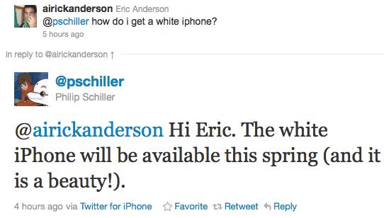 Se confirma el iPhone 4 blanco para primavera - phil-schiller-twitter
