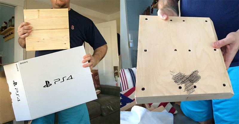 Niño recibe un Playstation 4 para navidad y resulta ser un pedazo de madera. - fake-playstation-4