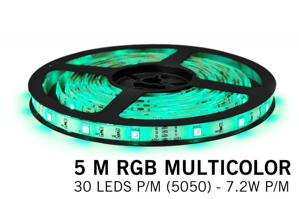 RGB LED strip 5 meter, 30 leds p.m. type 5050 12V