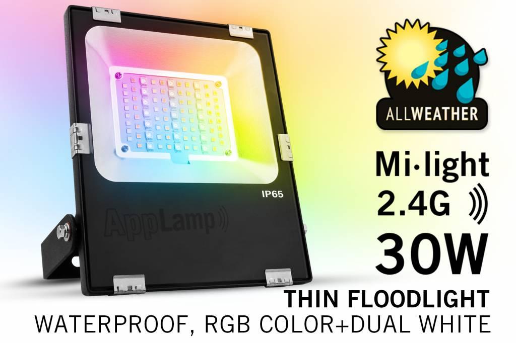 Mi·Light Mi-Light 30W RGBWW Kleur + Dual White LED Schijnwerper. Waterdicht IP65