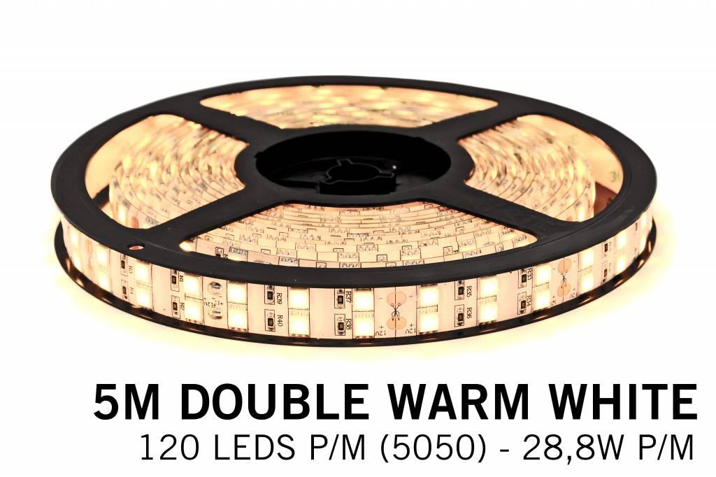 Warm Witte Ledstrip met dubbele rij 5050 LED's - 28,8W P/M 12V - IP20