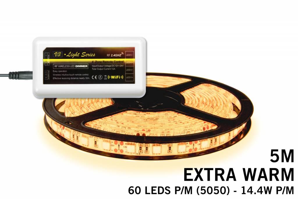Mi·Light Extra Warm Witte LED strip 300 leds 72W 12V 5M - Uitbreidingsset