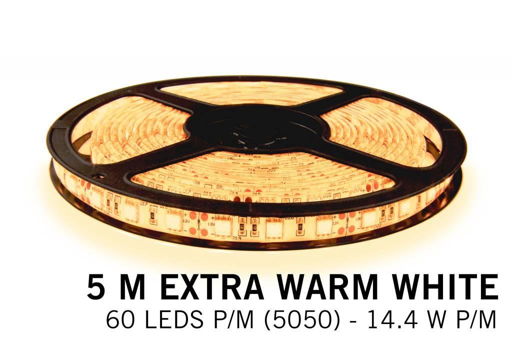 Extra Warm Witte LEDstrip 60 leds p.m. - 5M - type 5050 - 12V - 14,4W/p.m