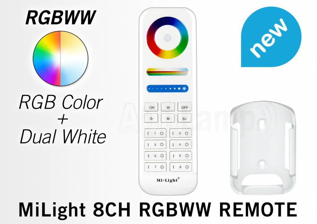 Mi·Light MiLight RGB+ DualWhite (RGB+CT) hand afstandsbediening, 8-zones, RF, 2x