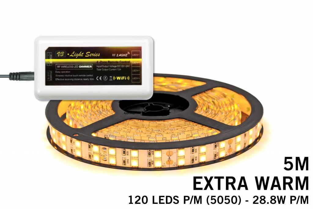 Mi·Light LED strip set Extra Warm Wit met dubbele rij, 600 leds 28W p.m.,12V 5M