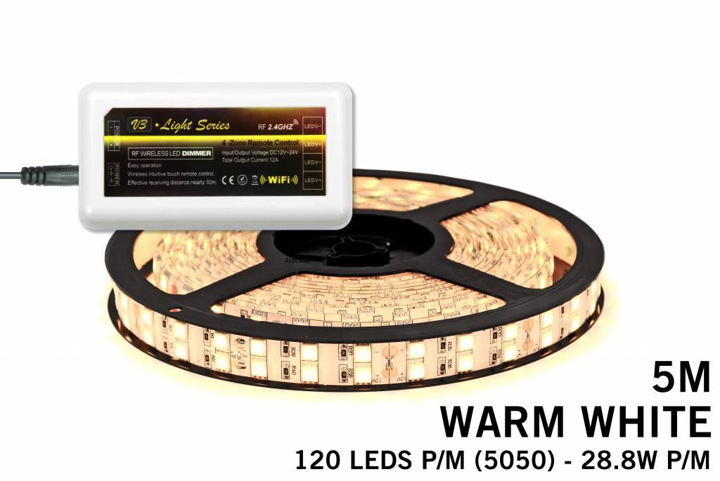 Mi·Light LED strip set Warm Wit met dubbele rij, 600 leds 28W p.m.,12V 5M - Uitb
