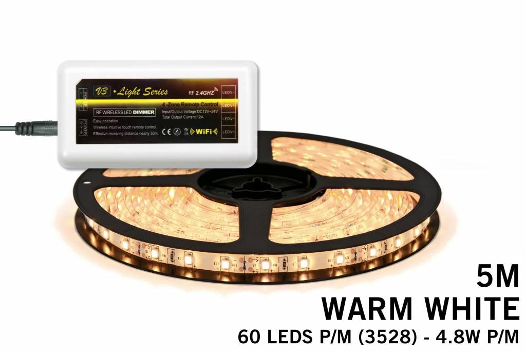 Mi·Light Warm Witte LED strip met 300 type 3528 leds 24W 12V 5M - Uitbreidingsse