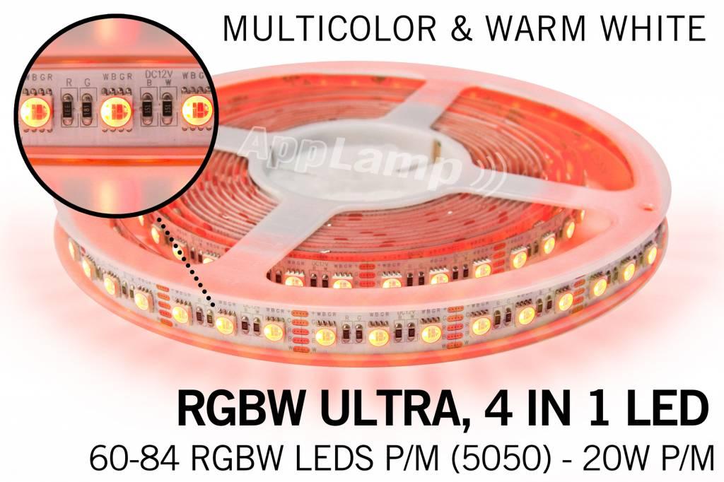 RGBW ULTRA LED strip 60 - 84 LED/m, 4 IN 1 LED, RGB Kleur + Warm Wit