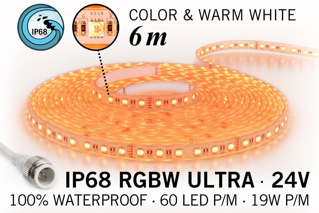 IP68 Waterdichte RGBW ULTRA Ledstrip,360 ULTRA Led's, 24 Volt, 6 m