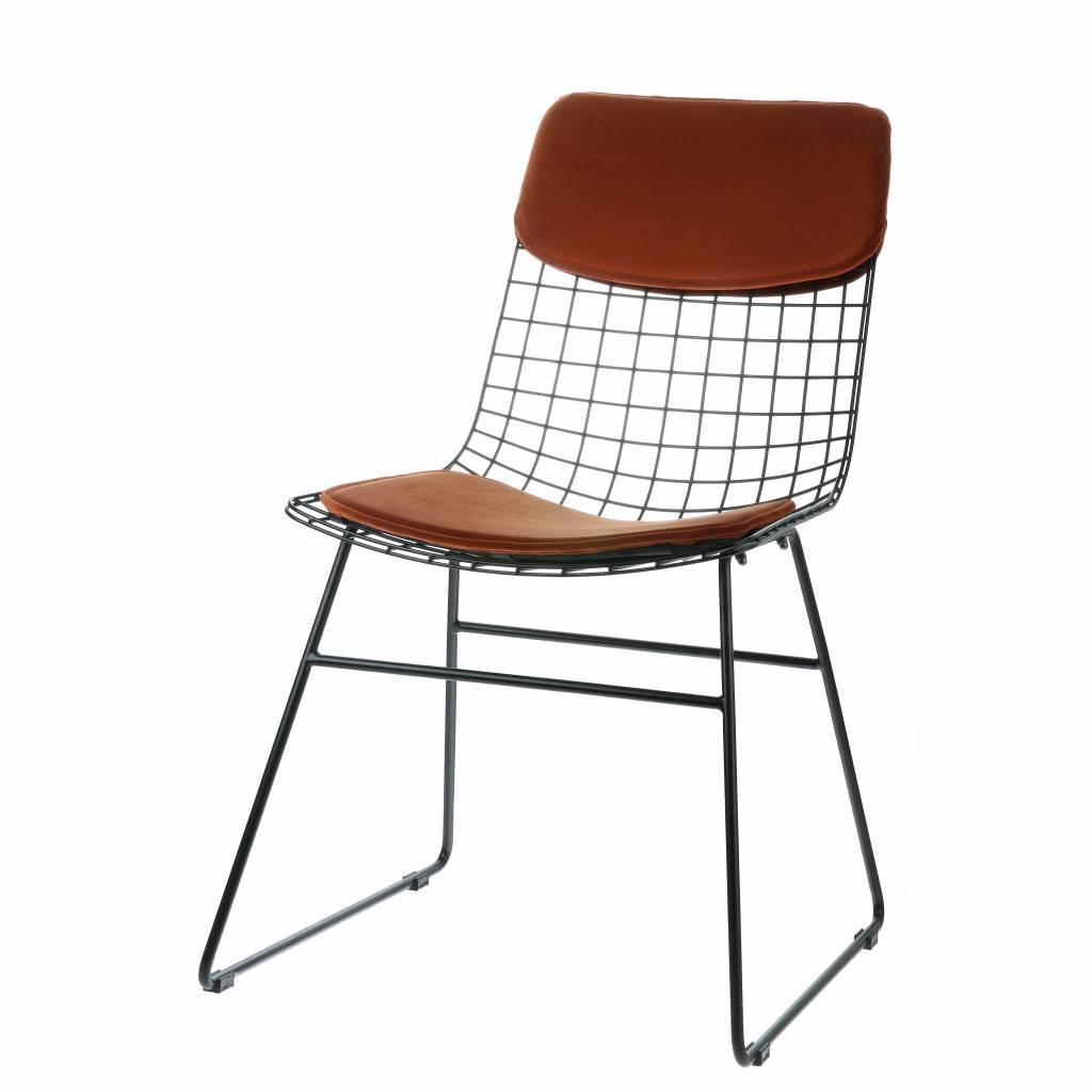 confort mis en velours couleur terre cuite pour chaise en fil metallique