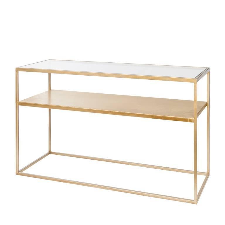 riverdale table d appoint elano verre dore 120x40x71cm