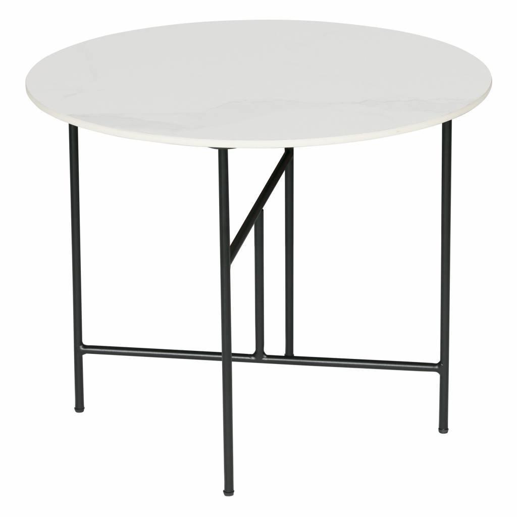 woood table basse vida avec plateau en marbre blanc o60x48cm
