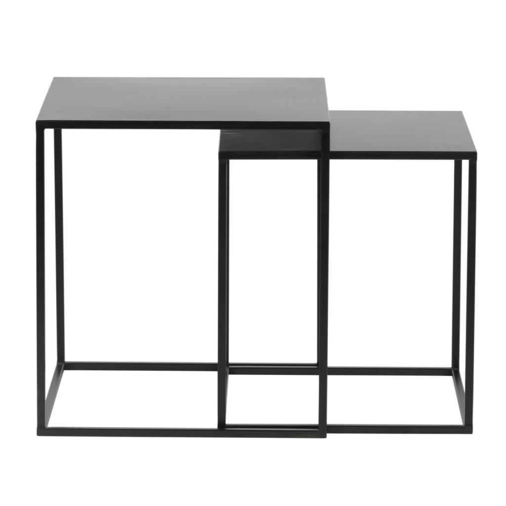 lef collections set of 2 ziva coffee table metal black
