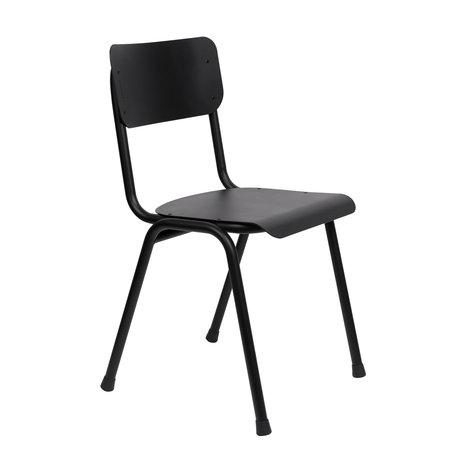 zuiver chaise de salle a manger back to school exterieur en metal noir 43x49x82 5cm