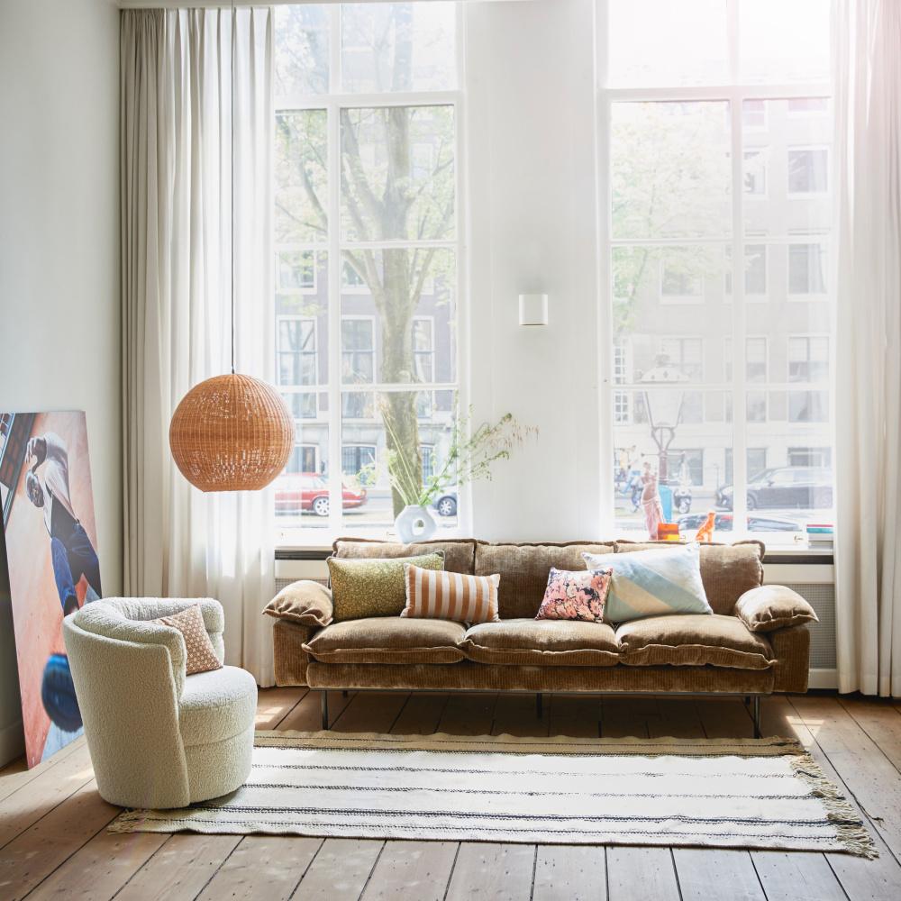 hk living canape 4 places retro velours velours cotele textile marron rouille 245x94x83cm