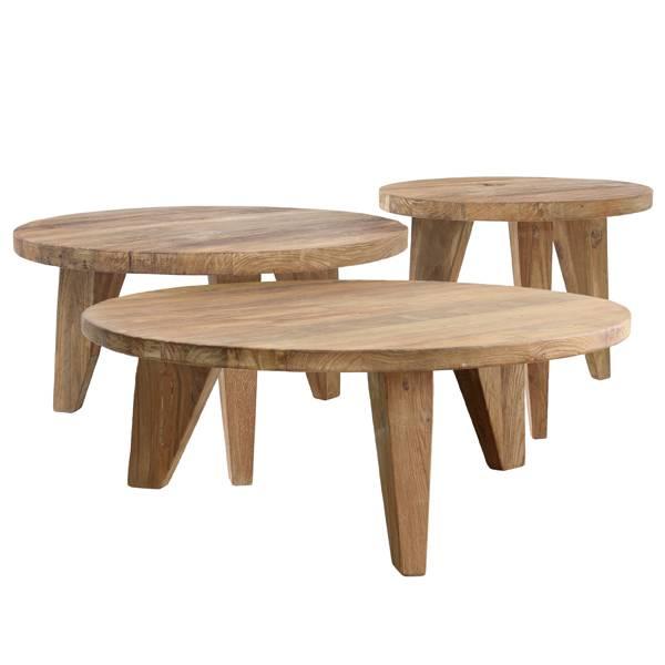 hk living table basse ronde en teck bois brun 50x50x41cm