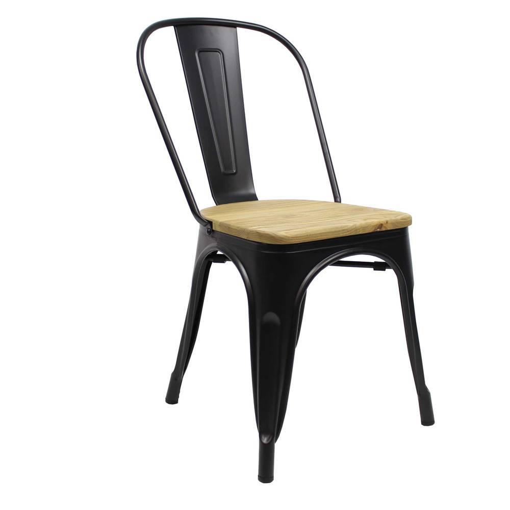 chaise tolix noir assise en bois expedie dans les 24 heures