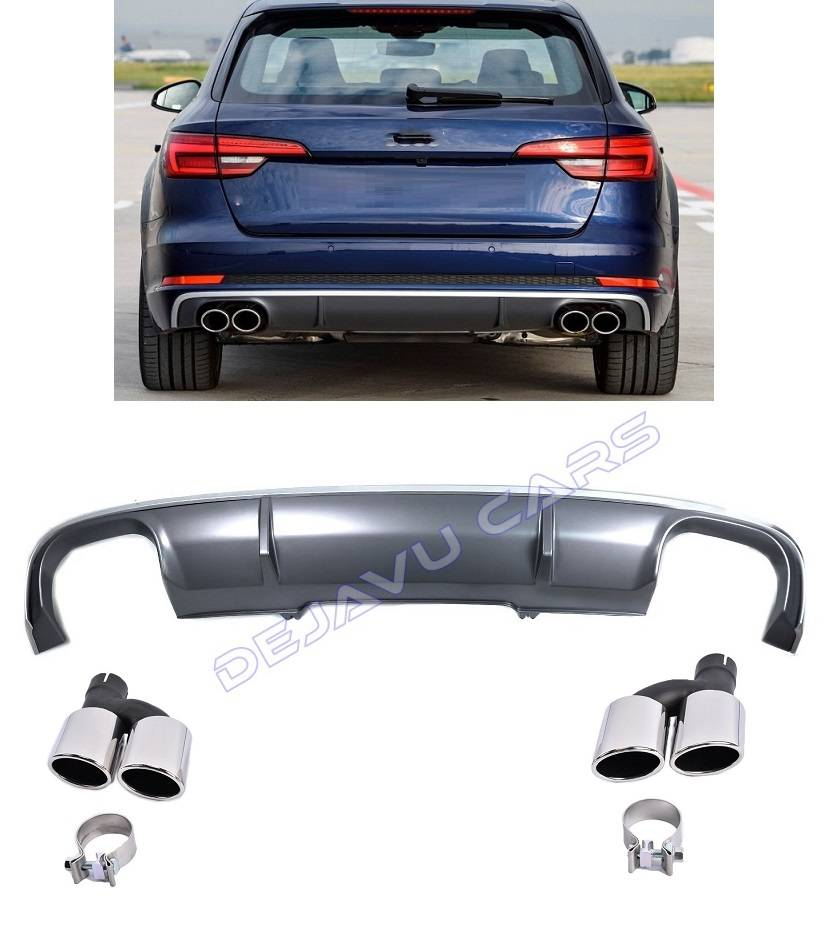s4 look diffuser exhaust tail pipes for audi a4 b9