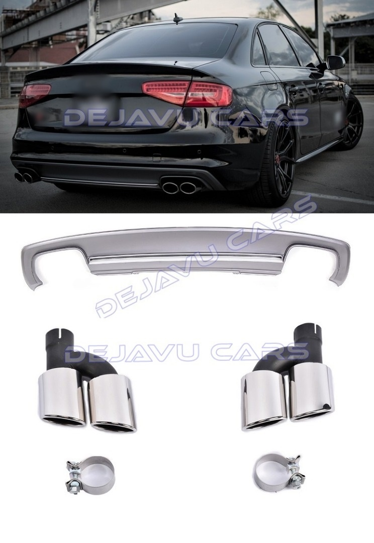 s4 look diffuser exhaust tail pipes for audi a4 b8 5