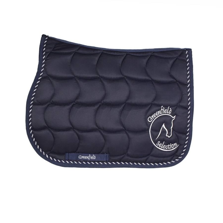 tapis de selle poney bleu bleu mix avec logo gf