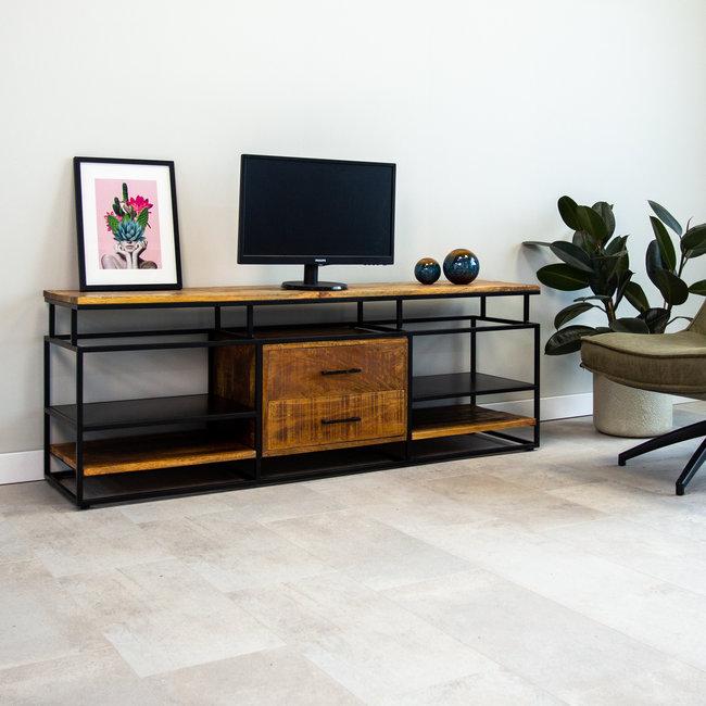 aimee meuble tv industriel bois d