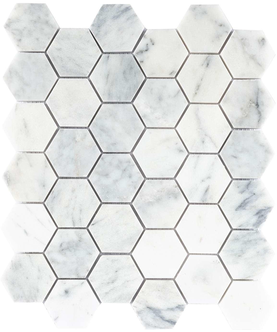 luxury tiles amasya white honed marble hexagon mosaic tile