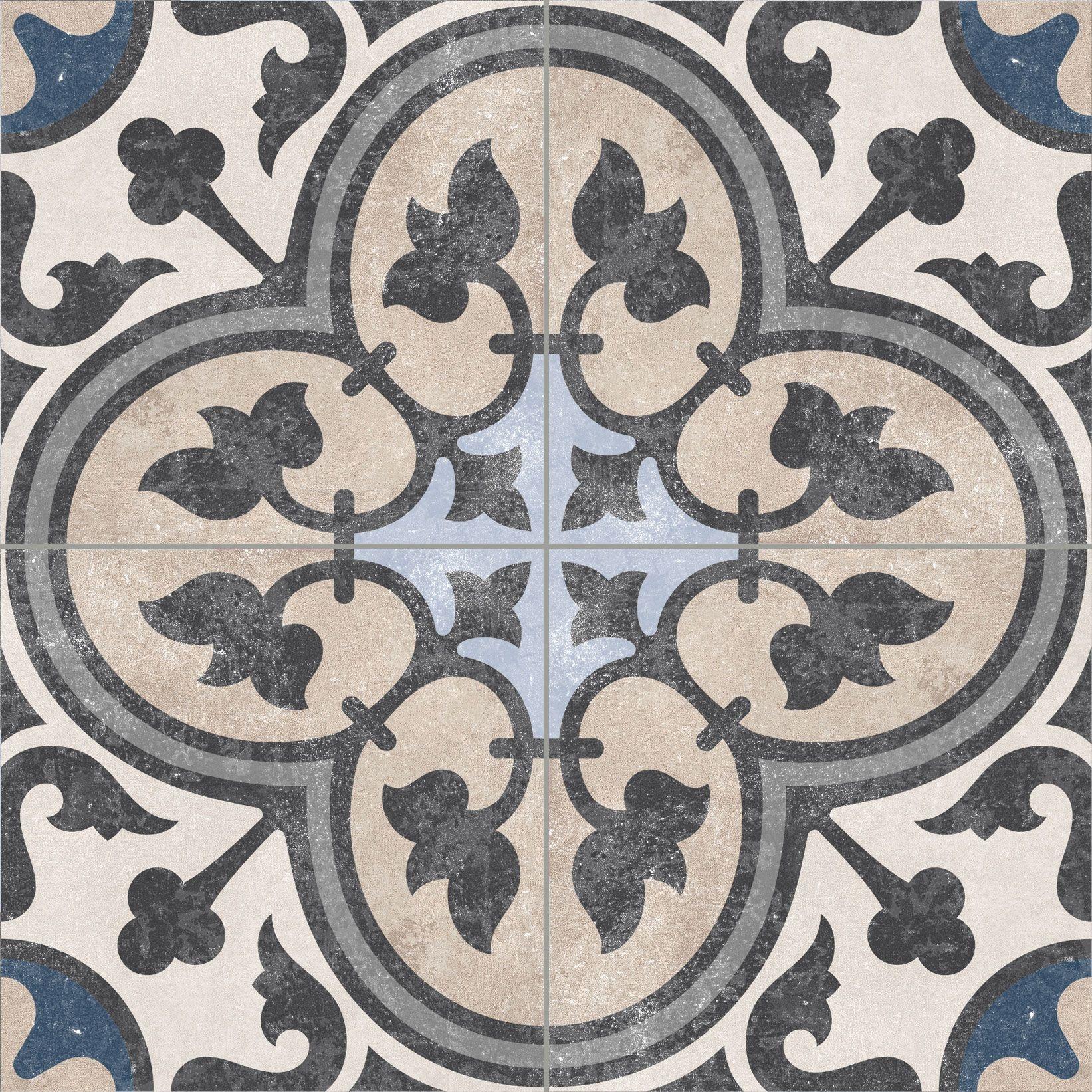 luxury tiles victorian faded royal pattern floor tile 186 x 186 mm