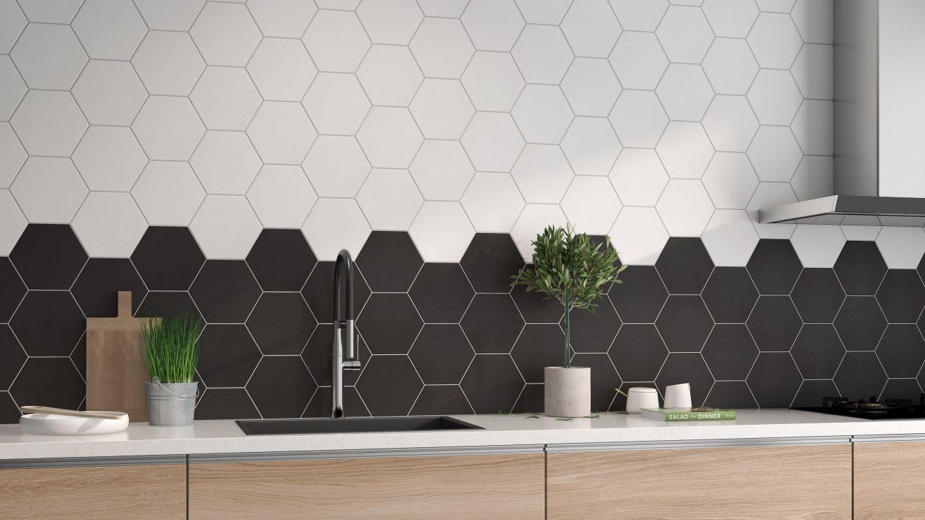 luxury tiles chelsea black hexagon porcelain wall and floor tile