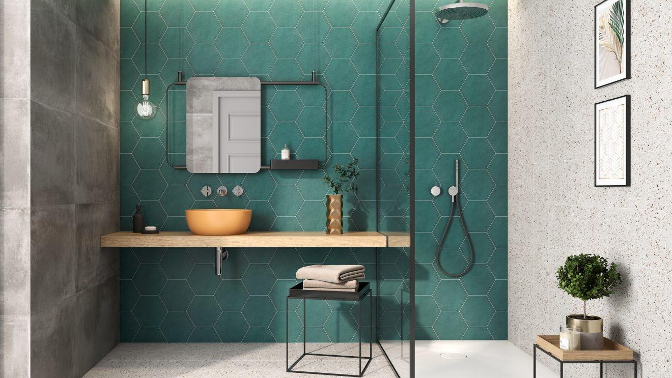 luxury tiles chelsea emerald green hexagon porcelain wall and floor tile