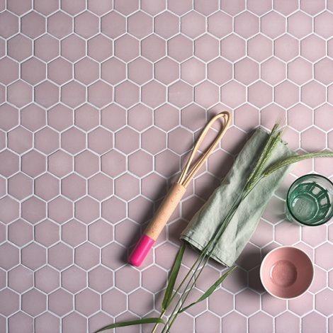 ca pietra brasserie hexagon mosaic pink glass wall and floor tile