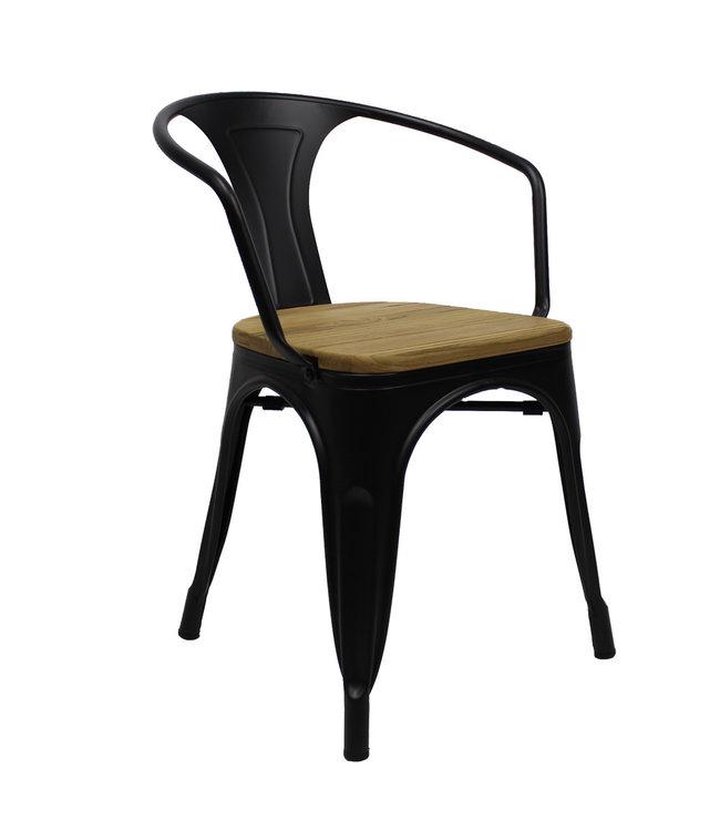 chaise salle a manger bois metal avec accoudoir industrielle blade