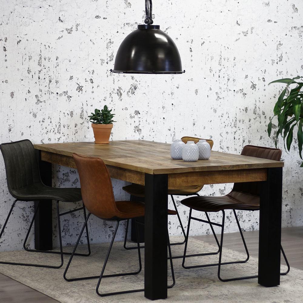 table salle a manger industriel kansas 240x100 cm dimehouse