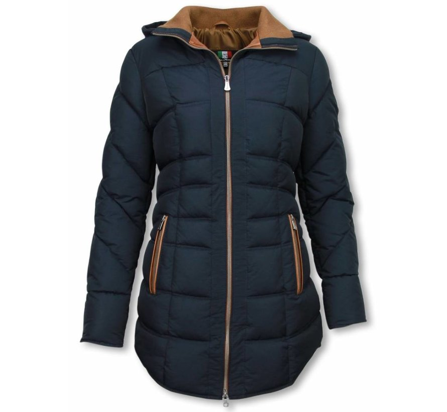 Winterjassen - Dames Winterjas Lang - Gestikt - Country Edition - Blauw