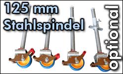 Rollen 125 mm PU mit Stahlspindel