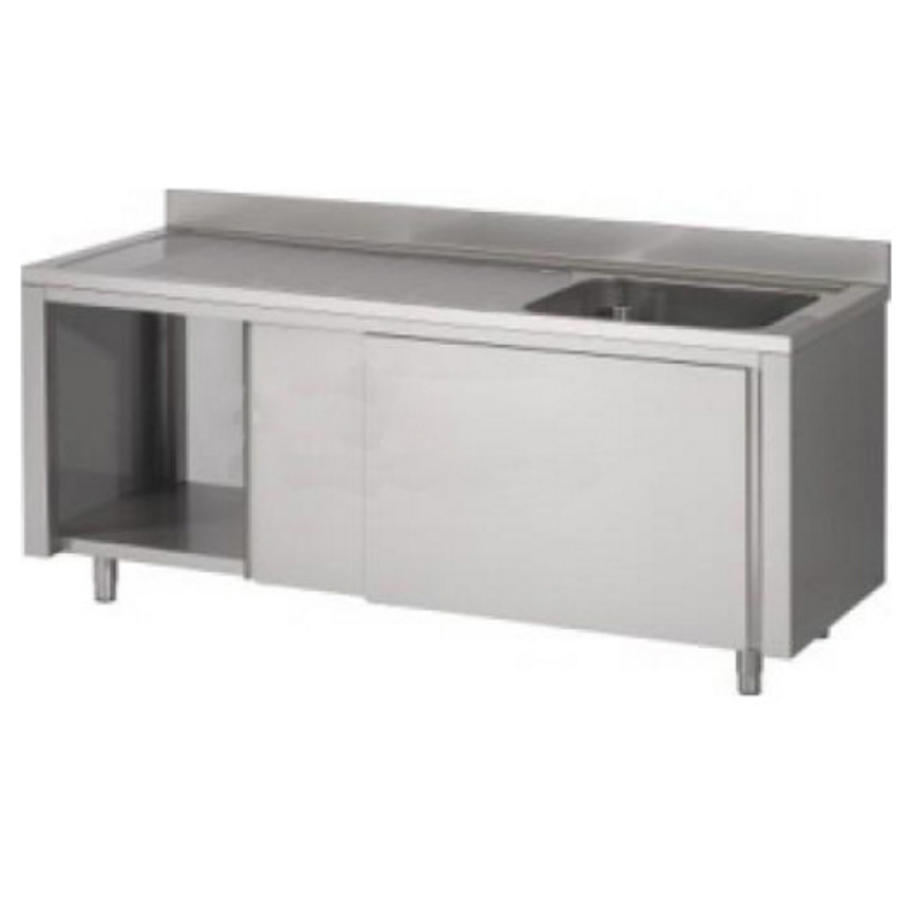 horecatraders stainless steel sink with sink base cabinet right 120x70x90 cm