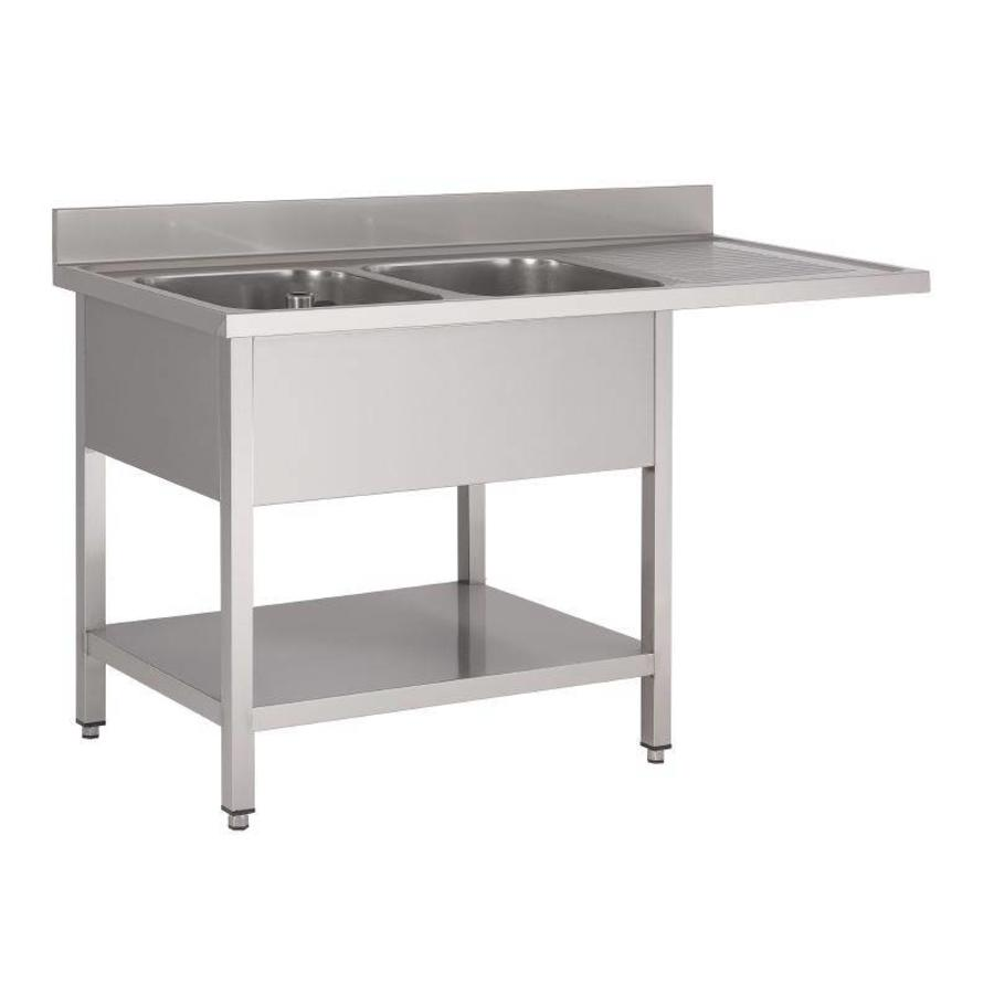 gastro m sink table stainless steel dishwasher series 160x70x85cm