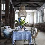 Superbe Diner Table Setting With A Mix Of Chairs In Iron Rattan And A Wooden Bench Above The Dining Table A Large Naturel Pendant Lamp Petite Lily Interiors