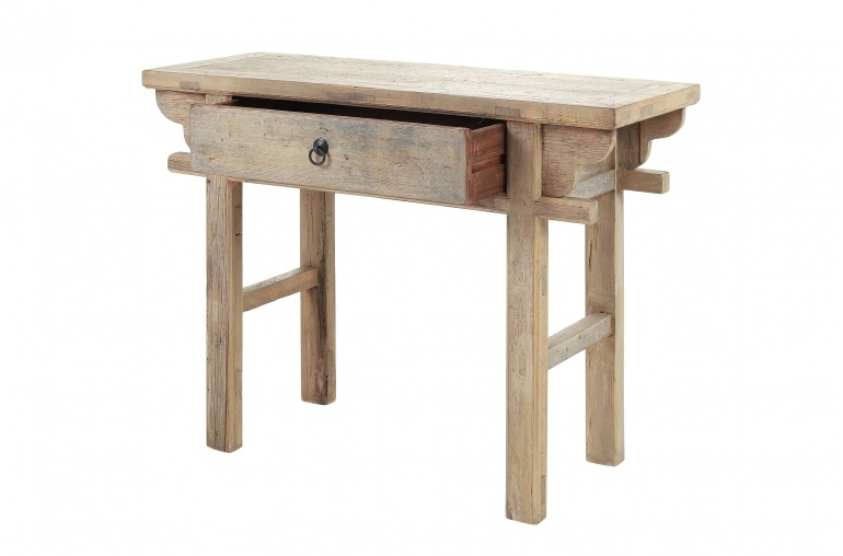 table console bois brut 110x42x80cm piece unique