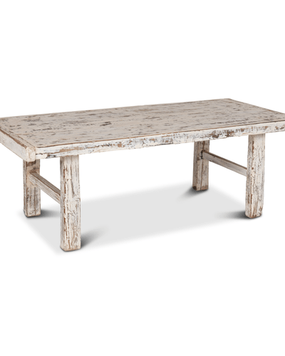 petite lily interiors table basse bois brut blanc 119x55xh43cm