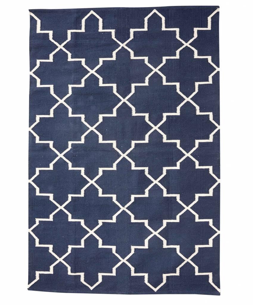 tapis scandinave en coton bleu naturel 120x180cm hubsch interior