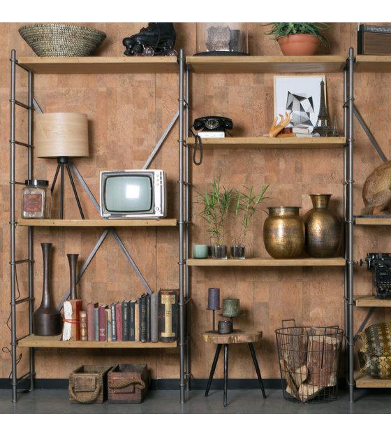 dutchbone etagere fer brun bois metal 100x42x200cm