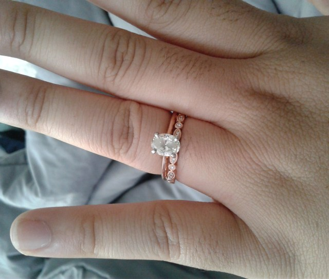 I Have A   Carat Diamond With Rose Gold Setting From Blue Nile And Size  Finger And My Wedding Band Is From Neil Lane I Cannot Wait To Wear It