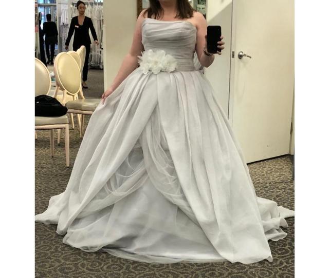 8a9b8befa499 Long Ballgown Modern Wedding Dress White By Vera Wang. Vera Wang Textured  Organza Wedding Dress Vw351178
