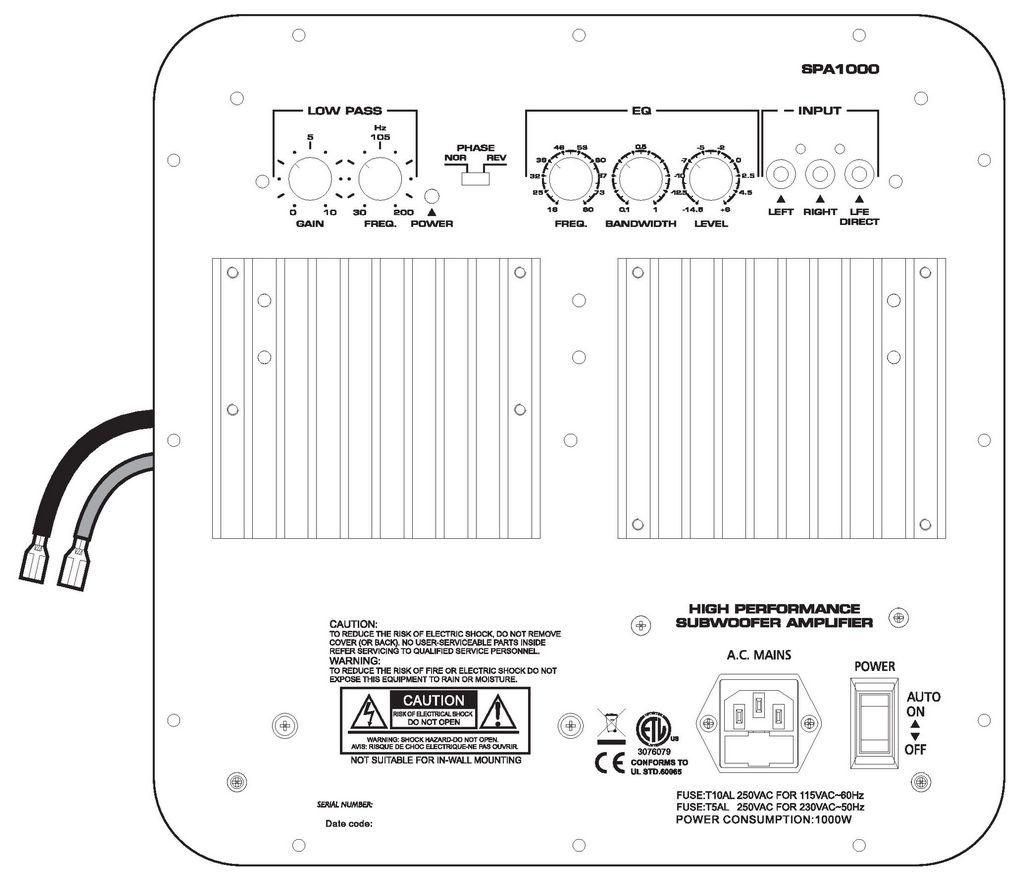 Spa Sub Woofer Plate Amplifier W
