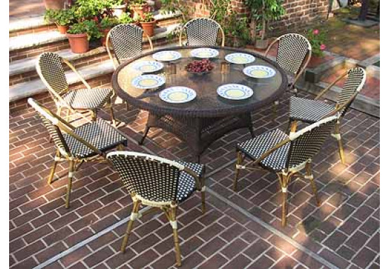 resin cafe dining set 60 round 8 chairs
